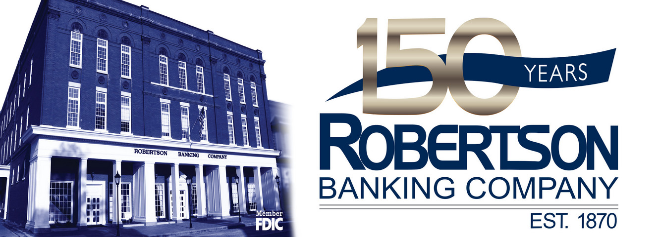 image of Robertson Banking Company with 150 year logo
